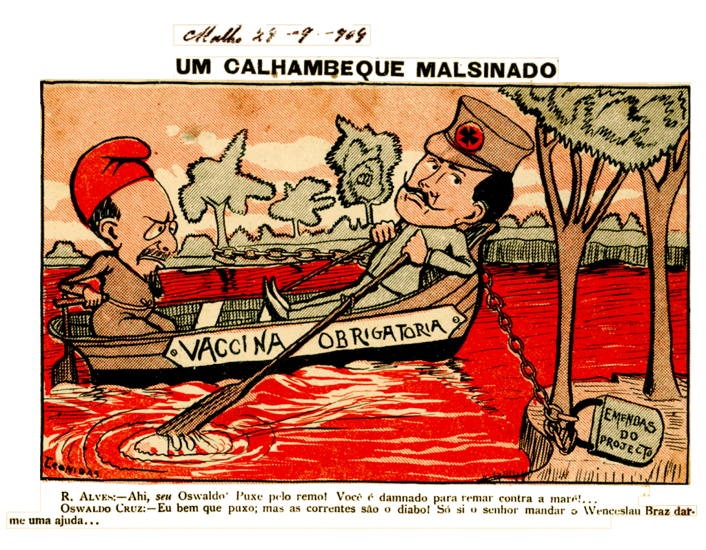 Caricatura sobre a varíola entitulada 'Um calhambeque malsinado'. No desenho, Oswaldo Cruz está¡ navegando em um barco sobre um rio de sangue